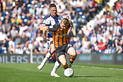 Hull City midfielder Jarrod Bowen (20) is fouled by West Bromwich Albion defender Kieran Gibbs (3) during the EFL Sky Bet Championship match between West Bromwich Albion and Hull City at The Hawthorns, West Bromwich, England on 19 April 2019.
