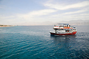 Glass bottom boat in the Red Sea south of Eilat, Israel