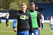 Bury Defender, Taylor Moore (28) and Bury Forward, Tom Pope (11)  during the EFL Sky Bet League 1 match between Bury and Northampton Town at the JD Stadium, Bury, England on 22 April 2017. Photo by Mark Pollitt.