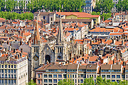 Old town Vieux Lyon and St. Jean Cathedral from Fourvière Hill, France (UNESCO World Heritage Site)