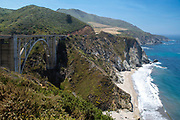 Late morning view of the famous Bixby Creek Bridge on Highway 1, near Carmel, Monterey County, California, USA.