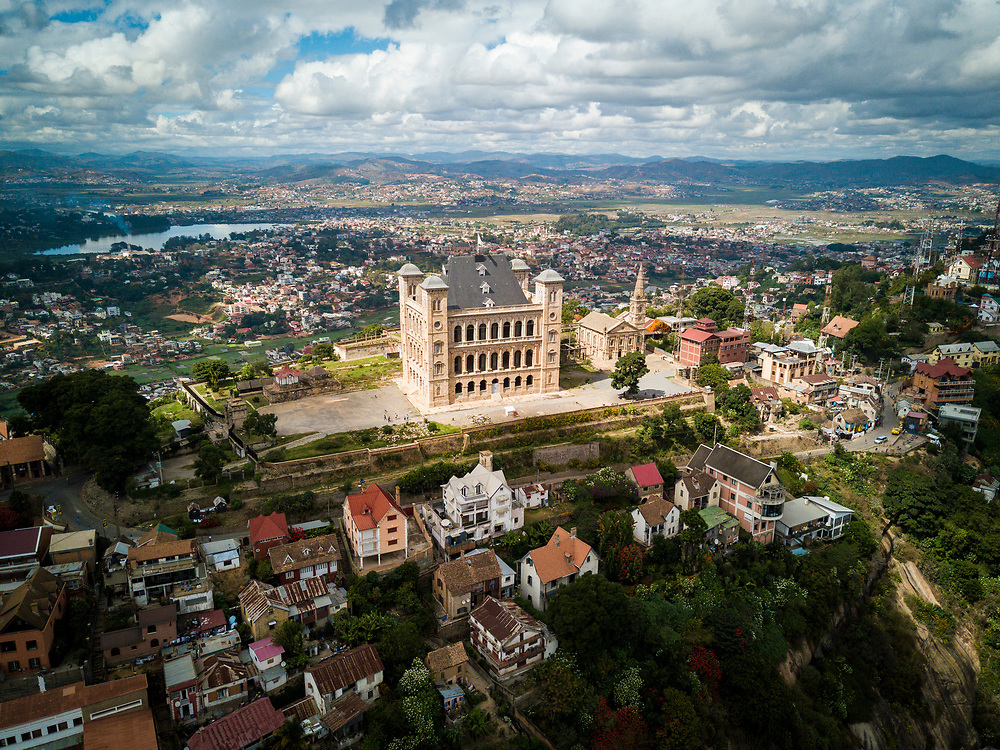 Aerial of The Rova Royal Palace overlooking the capital, Antananarivo, Madagascar.