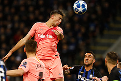 November 7, 2018 - Milan, Italy - Clement Lenglet (C) of Barcelona heads the ball during the Group B match of the UEFA Champions League between FC Internazionale and FC Barcelona on November 6, 2018 at San Siro Stadium in Milan, Italy. (Credit Image: © Mike Kireev/NurPhoto via ZUMA Press)