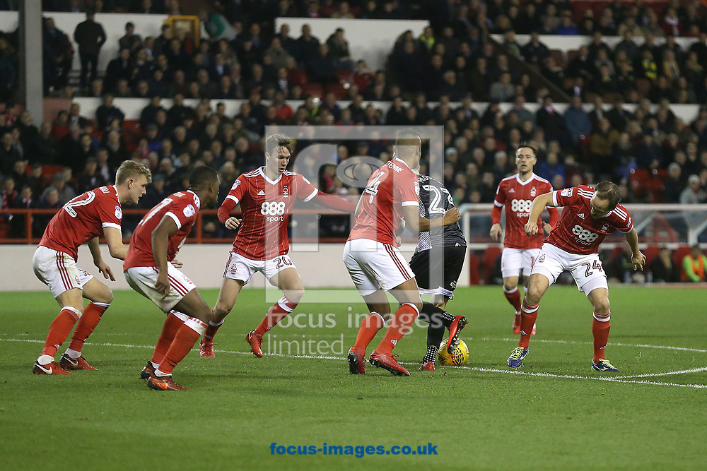 James Maddison of Norwich is surrounded by six Forest players as he tries to find an opening during the Sky Bet Championship match at the City Ground, Nottingham<br /> Picture by Paul Chesterton/Focus Images Ltd +44 7904 640267<br /> 21/11/2017
