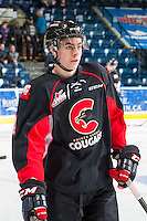 KELOWNA, CANADA - FEBRUARY 18: Joel Lakusta #4 of the Prince George Cougars warms up against the Kelowna Rockets on February 18, 2017 at Prospera Place in Kelowna, British Columbia, Canada.  (Photo by Marissa Baecker/Shoot the Breeze)  *** Local Caption ***