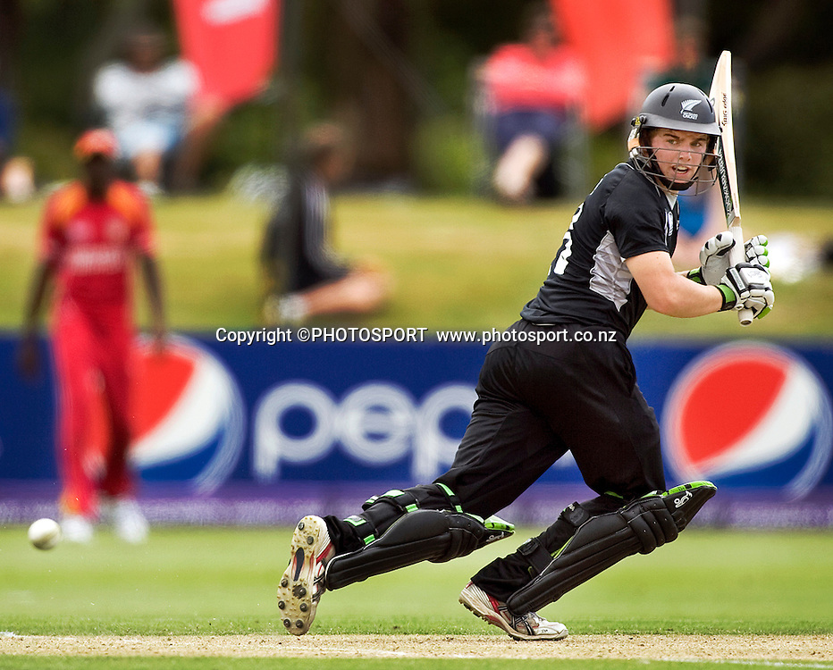 New Zealand's Tom Latham during his innings of 57 not out. New Zealand v Zimbabwe, U19 Cricket World Cup group stage match, Bert Sutcliffe Oval, Lincoln, Tuesday 19 January 2010. Photo : Joseph Johnson/PHOTOSPORT