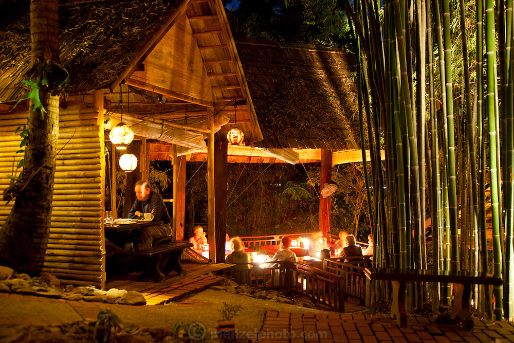 Dyen Sabai Restaurant overlooking the Nam Khan River facing Luang Prabang, Laos.