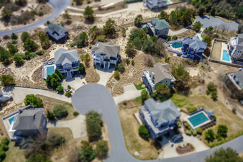 Aerial View Of A Tiny House Development On The Outer Banks.