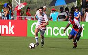 Team USA forward Federico Oliva (18) dribbles the ball during a CONCACAF boys under-15 championship soccer game, Sunday, Aug. 4, 2019, in Bradenton, Fla. The USA defeated Haiti 2-0 (Kim Hukari/Image of Sport)