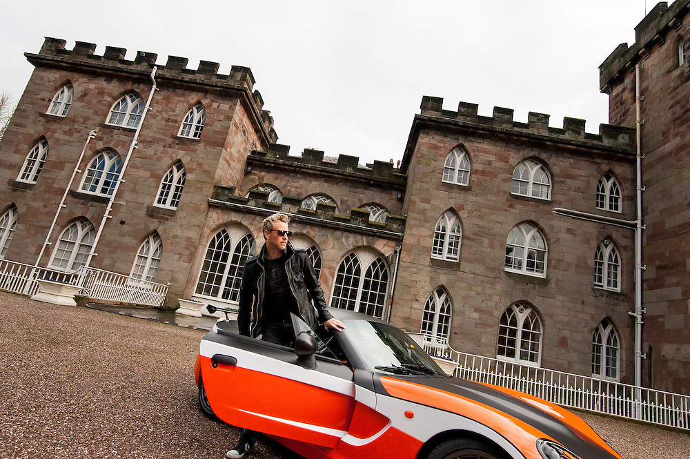 Editorial photography for the Cheshire Magazine by photographer Ioan Said. Rick Parfitt Jr is racing his Ginetta Car and singing at the 2015 Pageant of Power