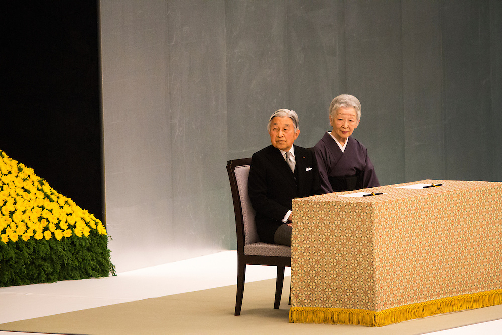 TOKYO, JAPAN - AUGUST 15 : Emperor Akihito and Empress Michiko attends during the memorial service at the Nippon Budokan on the 71st anniversary of the Japan's war surrender on August 15, 2016 in Tokyo, Japan. (Photo by Richard Atrero de Guzman/NURPhoto)