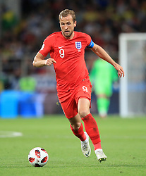 England's Harry Kane during the FIFA World Cup 2018, round of 16 match at the Spartak Stadium, Moscow. PRESS ASSOCIATION Photo. Picture date: Tuesday July 3, 2018. See PA story WORLDCUP England. Photo credit should read: Adam Davy/PA Wire. RESTRICTIONS: Editorial use only. No commercial use. No use with any unofficial 3rd party logos. No manipulation of images. No video emulation