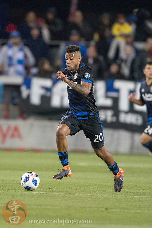 May 19, 2018; San Jose, CA, USA; San Jose Earthquakes midfielder Anibal Godoy (20) during the second half against D.C. United at Avaya Stadium. D.C. United defeated the Earthquakes 3-1.