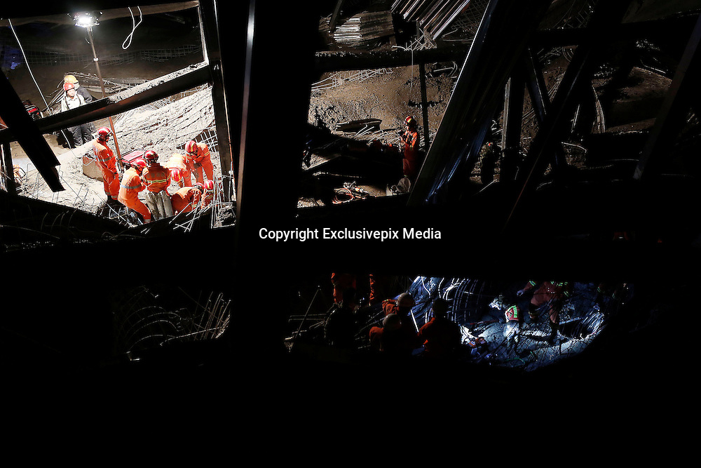 KUNMING, CHINA - MARCH 16: (CHINA OUT)<br /> <br /> One Died And Another 20 Injured In Kunmings Instruction Building Collapse<br /> <br />  Medical workers, armed police officers and fire workers rescue trapped workers as a five-storey steel structural building which\'s under construction collapsed Wednesday afternoon in Guandu District on March 16, 2016 in Kunming, Yunnan Province of China. At least one died and still another more than twenty people got injured in northwest China\'s Yuannan province building collapse. <br /> ©Exclusivepix Media