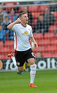 Ryan Colclough of Crewe Alexandra scores the opening goal during the Sky Bet League 1 match at Oakwell, Barnsley<br /> Picture by Graham Crowther/Focus Images Ltd +44 7763 140036<br /> 10/10/2015