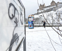 Pictured: Graffiti in central Edinburgh on Thursday morning summed it up.<br /> <br /> The severe winter weather continued to cause chaos throughout Scotland, with the most severe level of Amber warning being extended until 10am on Friday 02 March.<br /> <br /> © Dave Johnston / EEm