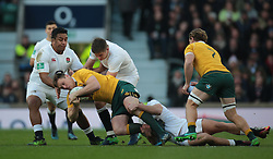 December 4, 2016 - London, England, United Kingdom - Australia's Dane Haylett-Petty  gets tackled by England's Mako Vunipola   during Old Mutual Wealth Series match between England against Australia at Twickenham stadium , London, Britain - 03 December 2016  (Credit Image: © Kieran Galvin/NurPhoto via ZUMA Press)