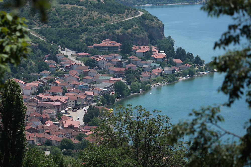 View of Pestani village, east shore Lake Ohrid (693m).<br /> Galicica National Park, Macedonia, June 2009<br /> Mission: Macedonia, Lake Macro Prespa /  Lake Ohrid, Transnational Park<br /> David Maitland / Wild Wonders of Europe