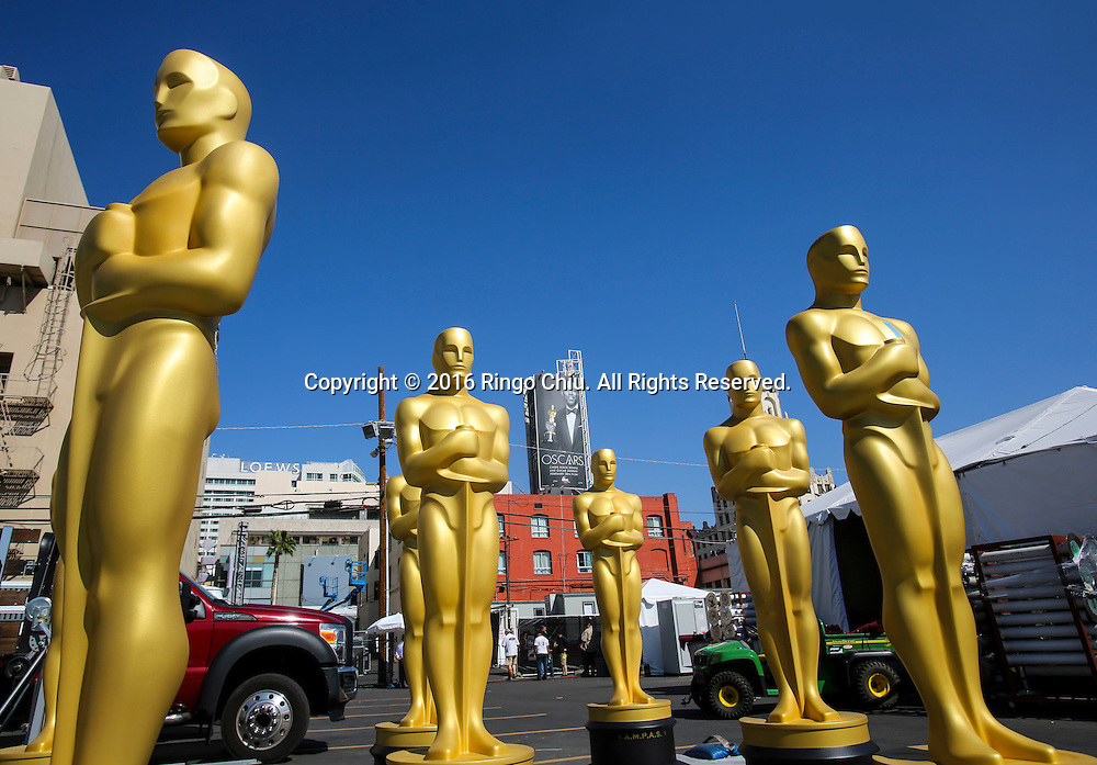 Oscar statues are seen at a Hollywood back lot near the Dolby Theatre Feb. 25, 2016 in Los Angeles. The 88th Academy Awards will be held Sunday, February 28, 2016. (Photo by Ringo Chiu/PHOTOFORMULA.com)<br /> <br /> Usage Notes: This content is intended for editorial use only. For other uses, additional clearances may be required.