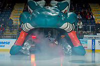 KELOWNA, CANADA - FEBRUARY 8:  James Porter #1 of the Kelowna Rockets enters the ice against the Prince George Cougars on February 8, 2019 at Prospera Place in Kelowna, British Columbia, Canada.  (Photo by Marissa Baecker/Shoot the Breeze)