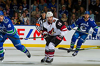 KELOWNA, BC - SEPTEMBER 29:  Brad Richardson #15 of the Arizona Coyotes skates against the Vancouver Canucks at Prospera Place on September 29, 2018 in Kelowna, Canada. (Photo by Marissa Baecker/NHLI via Getty Images)  *** Local Caption *** Brad Richardson
