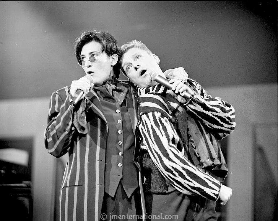 KD Lang and Andy Bell of Erasure, The BRIT Awards 1993 <br /> Tuesday 16 Feb 1993.<br /> Alexandra Palace, London, England<br /> Photo: John Marshall - JM Enternational