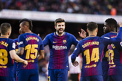 March 18, 2018 - Barcelona, Spain - BARCELONA, SPAIN - MARCH 18: 03 Gerard Pique from Spain of FC Barcelona talking to his team during La Liga match between FC Barcelona v Atletic de Bilbao at Camp Nou Stadium in Barcelona on 18 of March, 2018. (Credit Image: © Xavier Bonilla/NurPhoto via ZUMA Press)