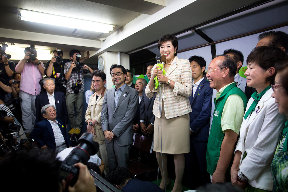 TOKYO, JAPAN - JULY 31 : Yuriko Koike, newly elected governor of Tokyo, center, speaks during a news conference after winning the Tokyo gubernatorial election at her office in Tokyo, Japan, on Sunday, July 31, 2016. Yuriko Koike a Liberal Democratic Party lawmaker and former defense minister is the first women to be elected as a Governor of Tokyo. (Photo: Richard Atrero de Guzman/NURPhoto)