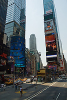 The animated neon billboard of Times Square echo the continuous bustling of human traffic in New York City, NY, USA