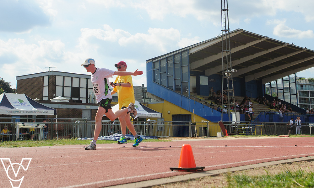 Metro Blind Sport's 2017 Athletics Open held at Mile End Stadium.  5000m.  Competitor #55 with guide runner<br /> <br /> Picture: Chris Vaughan Photography for Metro Blind Sport<br /> Date: June 17, 2017