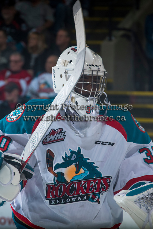 KELOWNA, CANADA - MARCH 25: Michael Herringer #30 of the Kelowna Rockets sites to the bench against the Kamloops Blazers on March 25, 2017 at Prospera Place in Kelowna, British Columbia, Canada.  (Photo by Marissa Baecker/Shoot the Breeze)  *** Local Caption ***