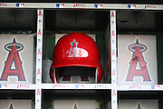 ANAHEIM, CA - MAY 21:  A batting helmet sits in a dugout bin before the Los Angeles Angels of Anaheim game against the Houston Astros at Angel Stadium on Wednesday, May 21, 2014 in Anaheim, California. The Angels won the game 2-1. (Photo by Paul Spinelli/MLB Photos via Getty Images)