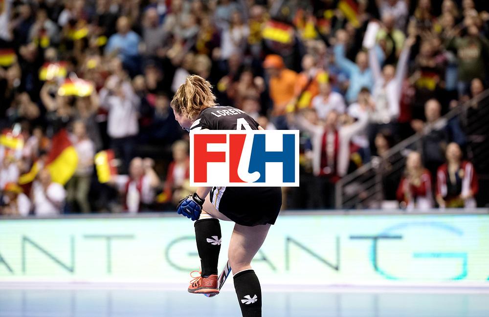 BERLIN - Indoor Hockey World Cup<br /> Final: Netherlands - Germany<br /> Germany wins the world championship.<br /> foto: Nike Lorenz celebrates her scored penalty stroke.<br /> WORLDSPORTPICS COPYRIGHT FRANK UIJLENBROEK