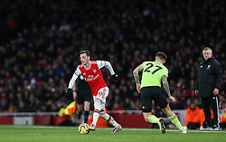 Mesut Ozil of Arsenal tricks his way past Muhamed Besic of Sheffield United - Mandatory by-line: Arron Gent/JMP - 18/01/2020 - FOOTBALL - Emirates Stadium - London, England - Arsenal v Sheffield United - Premier League