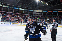 KELOWNA, CANADA - DECEMBER 30: Tyler Soy #17 of the Victoria Royals skates to the bench to celebrate a first period goal against the Kelowna Rockets on December 30, 2017 at Prospera Place in Kelowna, British Columbia, Canada.  (Photo by Marissa Baecker/Shoot the Breeze)  *** Local Caption ***