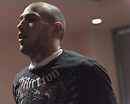 MANCHESTER, ENGLAND, NOVEMBER 11, 2009: Brandon Vera does an aerobic warm up at the open work-outs for UFC 105 at the Crowne Plaza Hotel in Manchester, England on November 11, 2009.