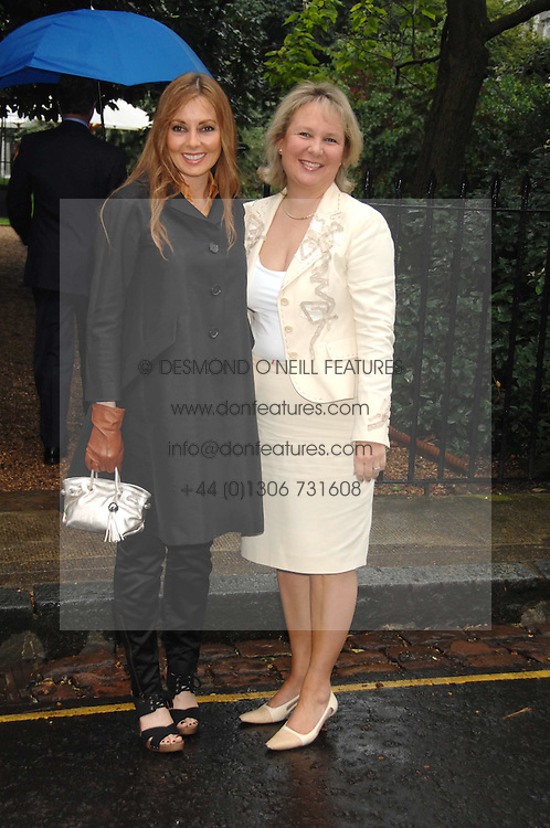 Left to right, CAROL VORDERMAN and KATHRYN APANOWICZ partner of the late Richard Whiteley at the annual Sir David &amp; Lady Carina Frost Summer Party in Carlyle Square, London SW3 on 5th July 2007.<br />