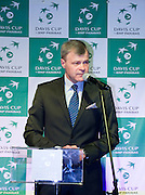 Piotr Szkielkowski vice president of Polish Tennis Association while official banquet two days before the BNP Paribas Davis Cup 2013 between Poland and South Africa at MOSiR Hall in Zielona Gora on April 03, 2013...Poland, Zielona Gora, April 03, 2013..Picture also available in RAW (NEF) or TIFF format on special request...For editorial use only. Any commercial or promotional use requires permission...Photo by © Adam Nurkiewicz / Mediasport