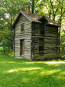 2-story log building, Bailly Homestead, early 19th century