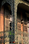 Image of a wrought iron balcony overlooking Royal Street in the French Quarter of New Orleans, Louisiana, American South