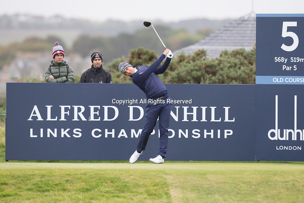 4th October 2017, The Old Course, St Andrews, Scotland; Alfred Dunhill Links Championship, practice round; Matteo Manassero of Italy tees off on the fifth hole on the Old Course, St Andrews during a practice round before the Alfred Dunhill Links Championship