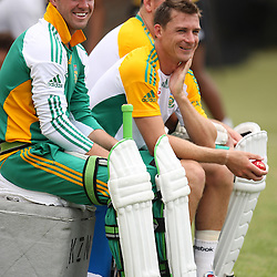 AB de Villiers with Dale Steyn and Graeme Smith captain during the Castle Lager Proteas squad which came together in Durban on Saturday December 24, in preparation for the second Sunfoil Test Match starting at Sahara Stadium Kingsmead on the Day of Goodwill (December 26). The squad had a practice session at Sahara Stadium Kingsmead<br /> <br /> <br /> Photography: Steve Haag