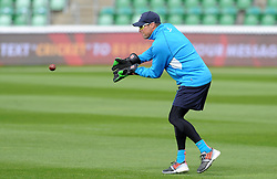 Somerset's Marcus Trescothick practices his wicket keeping during the warm up. Photo mandatory by-line: Harry Trump/JMP - Mobile: 07966 386802 - 09/05/15 - SPORT - CRICKET - Somerset v New Zealand - Day 2- The County Ground, Taunton, England.