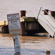 A pier at Marina Park in Port Deposit sit almost submerged as the Susquehanna river slowly reseeds back to normal levels Saturday, Sept. 10, 2011 in Port Deposit, Md as flooding from the Susquehanna River continues. (AP Photo/Saquan Stimpson)