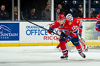 KELOWNA, BC - MARCH 13: Erik Atchison #12 of the Spokane Chiefs skates against the Kelowna Rockets at Prospera Place on March 13, 2019 in Kelowna, Canada. (Photo by Marissa Baecker/Getty Images)