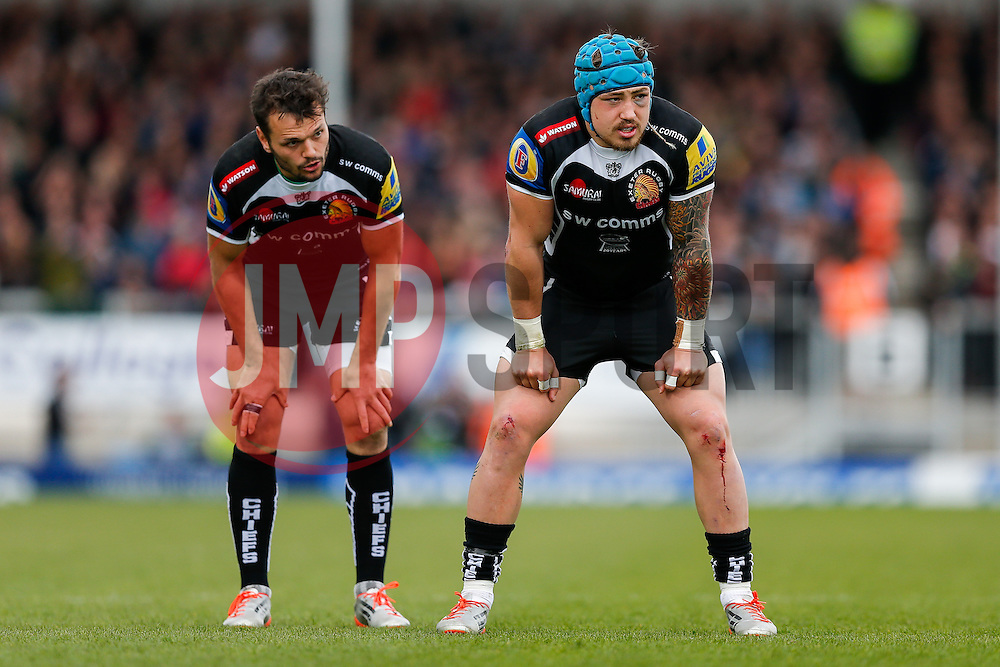 - Photo mandatory by-line: Rogan Thomson/JMP - 07966 386802 - 11/04/2015 - SPORT - RUGBY UNION - Exeter, England - Sandy Park Stadium - Exeter Chiefs v Northampton Saints - Aviva Premiership.