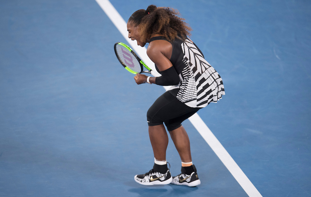 Serena Williams of the United States on day four of the 2017 Australian Open at Melbourne Park on January 19, 2017 in Melbourne, Australia.<br /> (Ben Solomon/Tennis Australia)