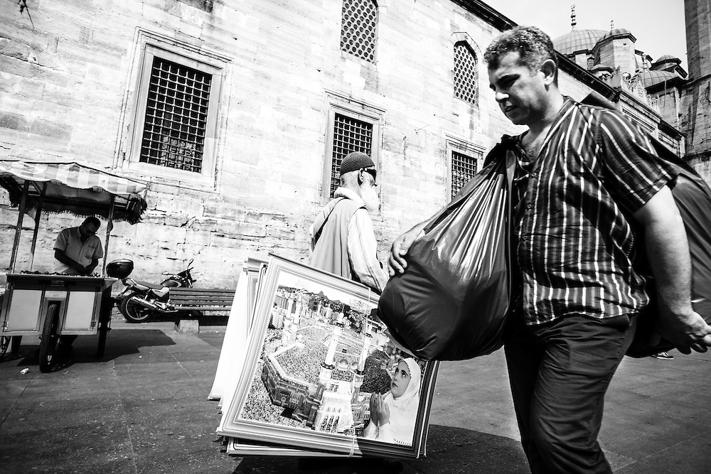 Street vendors near New Mosque (Yeni Cami), in Istanbul.