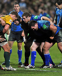 The Leinster front row pack down for a scrum - Photo mandatory by-line: Patrick Khachfe/JMP - Tel: Mobile: 07966 386802 07/12/2013 - SPORT - RUGBY UNION -  Franklin's Gardens, Northampton - Northampton Saints v Leinster - Heineken Cup.