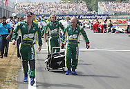 A1 Team Ireland pit crew leave the track prior to the start of the A1 GP Sprint Race, Taupo, New Zealand, Sunday 25 January 2009. Photo: Andrew Cornaga/PHOTOSPORT